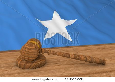 Somali Law Concept - Flag Of Somalia Behind Judge's Gavel 3D Illustration