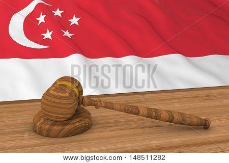 Singaporean Law Concept - Flag Of Singapore Behind Judge's Gavel 3D Illustration