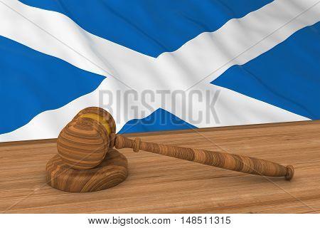 Scottish Law Concept - Flag Of Scotland Behind Judge's Gavel 3D Illustration