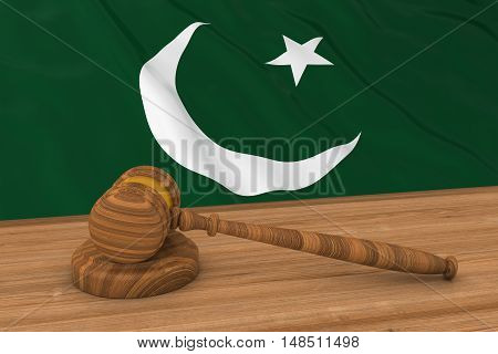Pakistani Law Concept - Flag Of Pakistan Behind Judge's Gavel 3D Illustration
