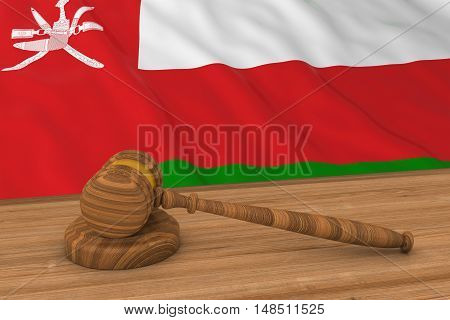 Omani Law Concept - Flag Of Oman Behind Judge's Gavel 3D Illustration