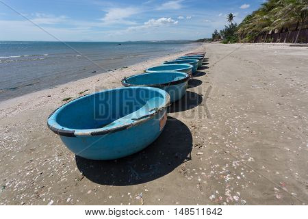 Nautical Fishing Coracles, Tribal Boats At Fishing Village In Vietnam