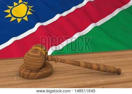 Namibian Law Concept - Flag Of Namibia Behind Judge's Gavel 3D Illustration