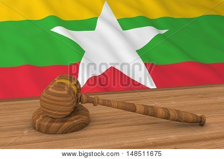 Burmese Law Concept - Flag Of Myanmar Behind Judge's Gavel 3D Illustration