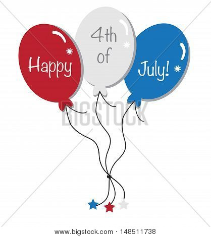 Happy 4th of July Red White Blue Balloons