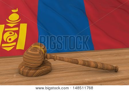 Mongolian Law Concept - Flag Of Mongolia Behind Judge's Gavel 3D Illustration