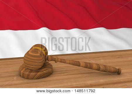 Flag Of Monaco / Indonesia Behind Judge's Gavel 3D Illustration