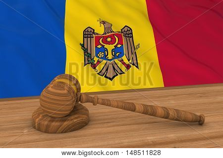 Moldovan Law Concept - Flag Of Moldova Behind Judge's Gavel 3D Illustration