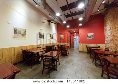 WASHINGTON - September 1, 2014: cafe hall with retro photos on the walls