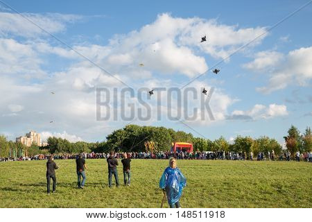 RUSSIA, MOSCOW - AUG 30, 2015: Many people launch kites in city park at summer sunny day