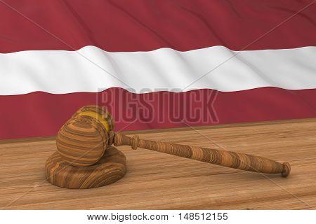 Latvian Law Concept - Flag Of Latvia Behind Judge's Gavel 3D Illustration