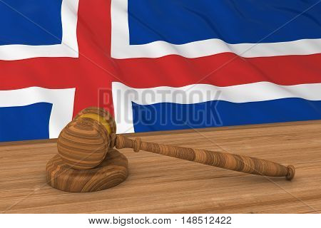 Icelandic Law Concept - Flag Of Iceland Behind Judge's Gavel 3D Illustration