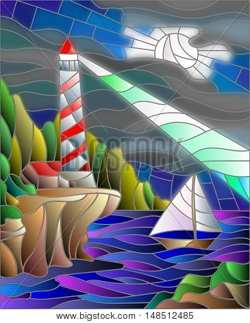 Illustration in stained glass style with the seascape lighthouse and sailboat on the background of the night sky and the sea