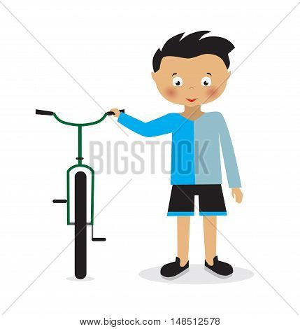 boy with a bicycle on a white background