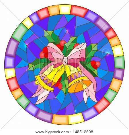 Illustration in stained glass style with Christmas bells Holly branches and bow on blue background round picture frame