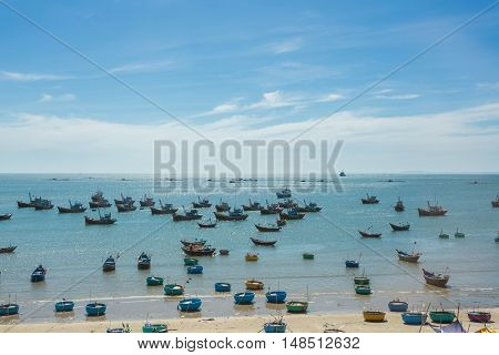 Nautical Fishing Coracles In Sea, Tribal Boats At Fishing Village In Vietnam