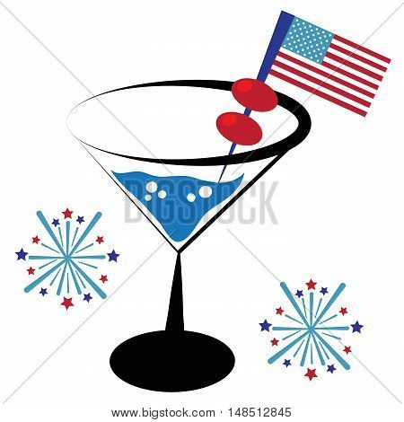Patriotic American Red White Blue Flag Cocktail