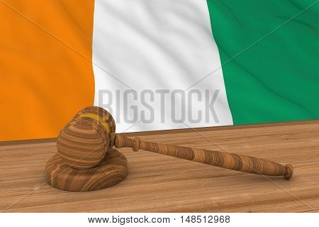 Ivorian Law Concept - Flag Of Cote D'ivoire Behind Judge's Gavel 3D Illustration