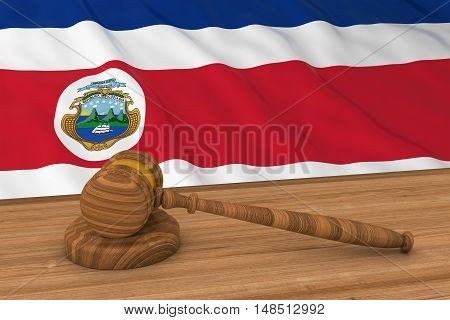 Costa Rican Law Concept - Flag Of Costa Rica Behind Judge's Gavel 3D Illustration