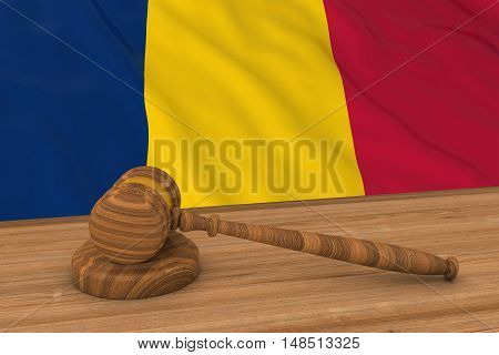 Chadian Law Concept - Flag Of Chad Behind Judge's Gavel 3D Illustration