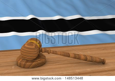 Botswanan Law Concept - Flag Of Botswana Behind Judge's Gavel 3D Illustration