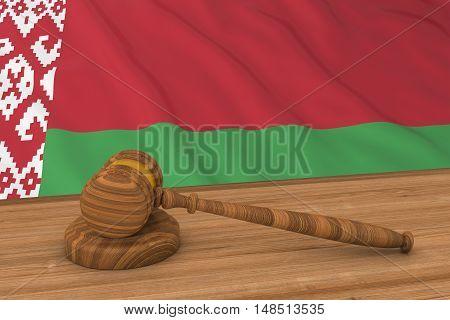 Belarusian Law Concept - Flag Of Belarus Behind Judge's Gavel 3D Illustration