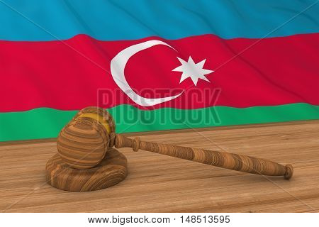 Azerbaijani Law Concept - Flag Of Azerbaijan Behind Judge's Gavel 3D Illustration