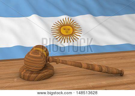 Argentinian Law Concept - Flag Of Argentina Behind Judge's Gavel 3D Illustration