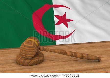 Algerian Law Concept - Flag Of Algeria Behind Judge's Gavel 3D Illustration