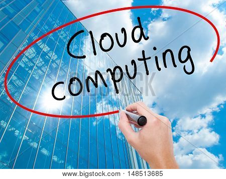 Man Hand Writing Cloud Computing With Black Marker On Visual Screen