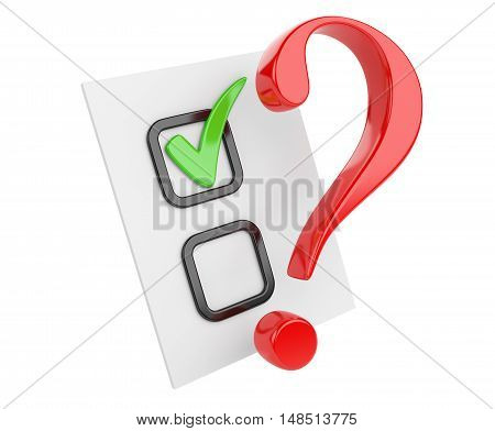 Voting concept. Paper with check box and red question sign. 3d illustration isolated on a white bacground.