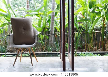 Interior Design, Sofa Furniture Contemporary Style In Living Room With Natural Garden Outside The Wi