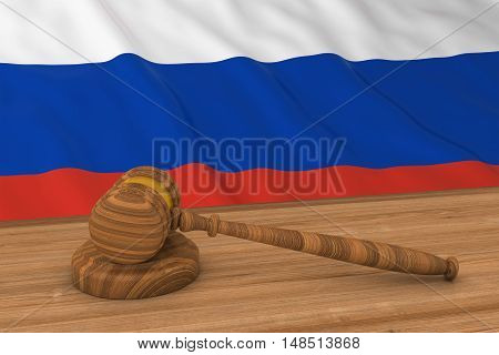 Russian Law Concept - Flag Of Russia Behind Judge's Gavel 3D Illustration