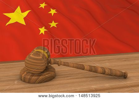Chinese Law Concept - Flag Of China Behind Judge's Gavel 3D Illustration