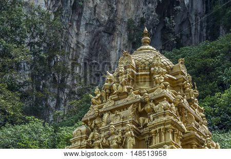 The roof of a Hindu temple, near the entrance to the sacred Batu Caves in Kuala Lumpur, Malaysia