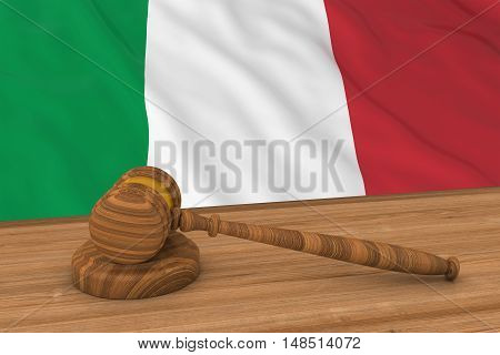 Italian Law Concept - Flag Of Italy Behind Judge's Gavel 3D Illustration