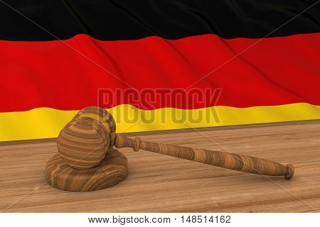 German Law Concept - Flag Of Germany Behind Judge's Gavel 3D Illustration