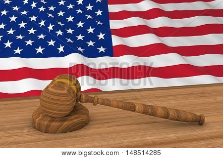 Us Law Concept - Flag Of America Behind Judge's Gavel 3D Illustration
