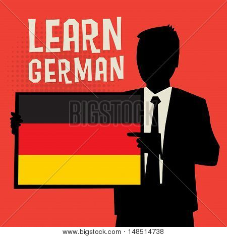 Man showing board business concept with text Learn German vector illustration