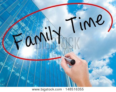 Man Hand Writing Family Time With Black Marker On Visual Screen