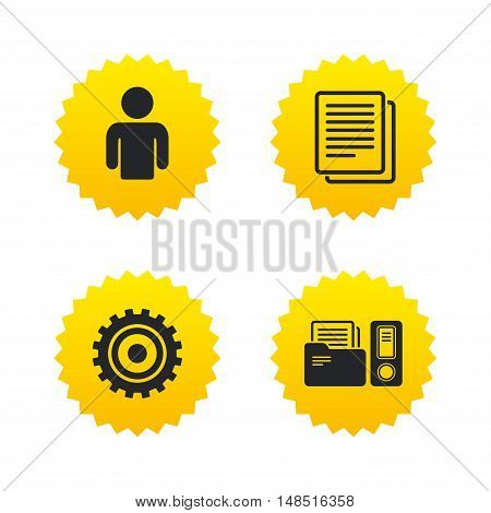 Accounting workflow icons. Human silhouette, cogwheel gear and documents folders signs symbols. Yellow stars labels with flat icons. Vector