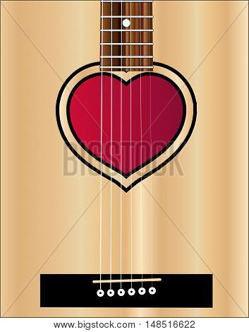 An acoustic guitar sound hole in the shape of a lovers heart