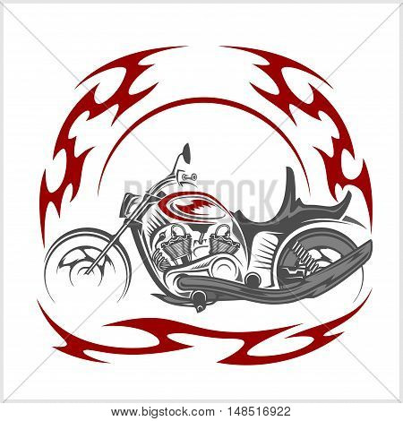 Flaming Bike - Retro Chopper and tribal flame on white background