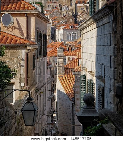 Dubrovnik Old Town, alleys and roof, Croatia