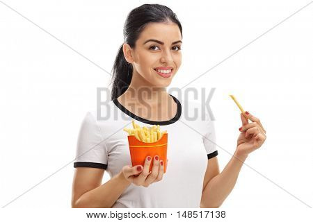 Happy woman holding a bag of fries isolated on white background