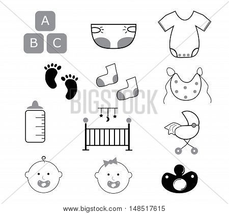 Baby Items Neutral Black White Grey Icons