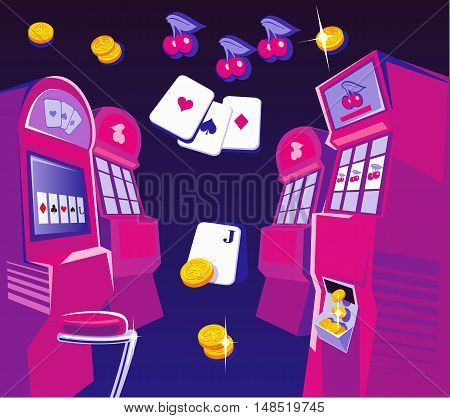 Interior casino - slot machines chairs. Gold coins playing-cards fly. Design concept for gambling luck and successful play. Vector flat illustrations