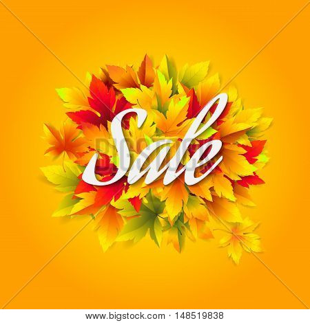 Vector template for design banner seasonal sales and discounts. Autumn background for promotion posters and flyers with colored maple leaves.