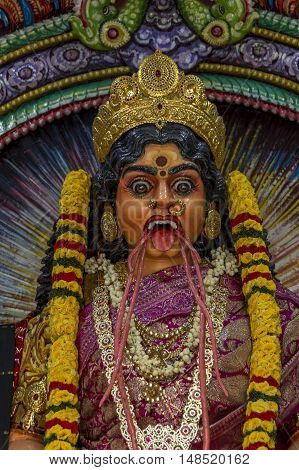Colorful statue in a Hindu Temple, in Indiah