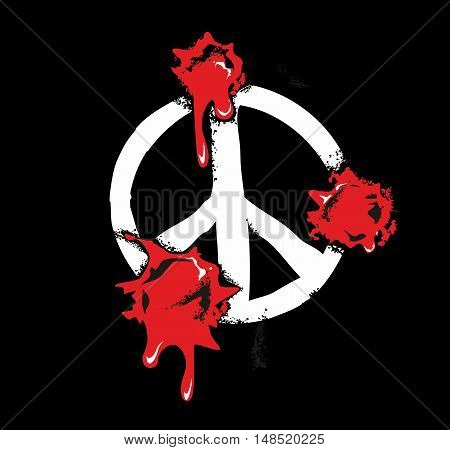 Bullet holes with blood splatters on peace sign. Flat vector illustration on black background.